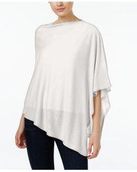 Eileen Fisher | White Silk Organic-linen Asymmetrical Poncho | Lyst