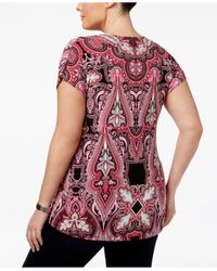 INC International Concepts - Red Plus Size Printed Pleated Top - Lyst