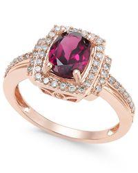 Macy's | Metallic Rhodolite Garnet (1-1/5 Ct. T.w.) And Diamond (1/3 Ct. T.w.) Ring In 14k Rose Gold | Lyst