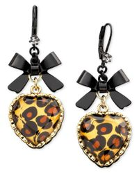 Betsey Johnson | Metallic Leopard Heart Bow Drop Earrings | Lyst