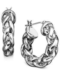 Lauren by Ralph Lauren | Natural Small Braided Hoop Earrings | Lyst