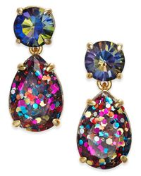 kate spade new york | Blue Gold-tone Glitter Stone Drop Earrings | Lyst