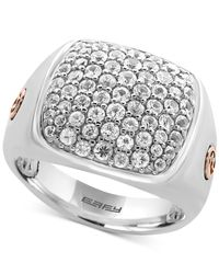 Effy Collection | Metallic Men's White Sapphire Cluster Ring (2 Ct. T.w.) In Sterling Silver And 18k Rose Gold for Men | Lyst