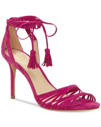 Vince Camuto Pink Stellima Ankle-tie Tassel Dress Sandals