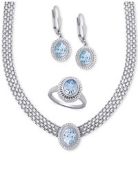Macy's | Metallic Blue Topaz Collar Necklace, Drop Earrings And Ring Set (10 Ct. T.w.) In Sterling Silver | Lyst