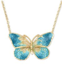 "Macy's - Blue Ceramic Butterfly Pendant Necklace In 14k Gold, 16"" + 1"" Extender - Lyst"
