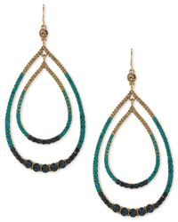 Trina Turk | Blue Gold-tone Multi-crystal Double Teardrop Orbital Drop Earrings | Lyst