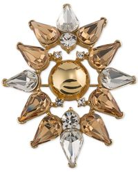 Trina Turk | Gold-tone Metallic And Crystal Stylized Flower Pin | Lyst