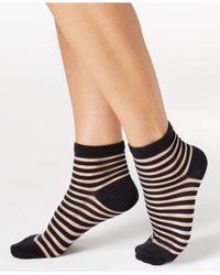 kate spade new york | Black Women's Sheer Stripes Anklet Socks | Lyst