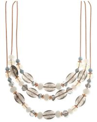Nine West | Metallic Rose Gold-tone Multi-bead Triple Row Necklace | Lyst