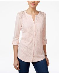 Style & Co. | Pink Lace Roll-tab Top | Lyst
