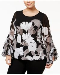 Alfani Multicolor Plus Size Ruffle-sleeve Blouson Top