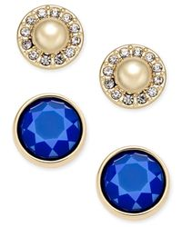 Charter Club   Blue Gold-tone Imitation Pearl Pavé And Colored Stone 2-pc. Set Stud Earrings   Lyst