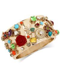 Betsey Johnson | Metallic Gold-tone Multi-charm Hinged Bangle Bracelet | Lyst