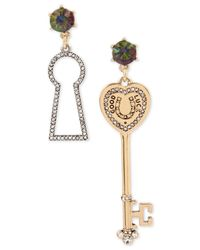 Betsey Johnson | Metallic Lucky Charms Crystal, Faceted Stone Lock & Key Mismatch Drop Earrings | Lyst