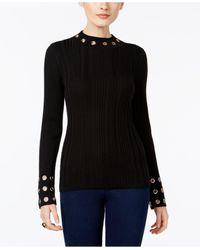 INC International Concepts - Black Grommet-trim Mock-neck Sweater - Lyst