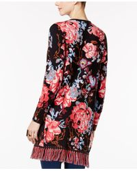 INC International Concepts Red Floral-print Cotton Cardigan