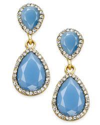 INC International Concepts | Blue Pavé Colored Stone Drop Earrings | Lyst