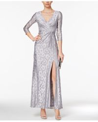 Adrianna Papell | Metallic Sequin Lace Wrap Gown | Lyst
