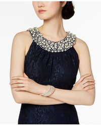 R & M Richards Blue Embellished Lace Gown