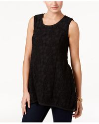 Style & Co.   Black Lace Sleeveless Top   Lyst