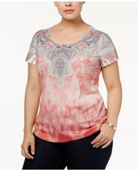 Style & Co. | Pink Plus Size Embellished Printed Top | Lyst