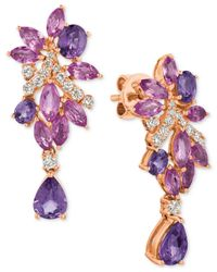 Le Vian | Pink Multi-sapphire (4-3/4 Ct. T.w.) And Diamond (3/8 Ct. T.w.) Drop Earrings In 14k Rose Gold | Lyst