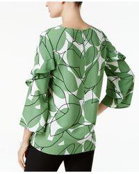 Alfani Green Plus Size Ruffle-sleeve Top