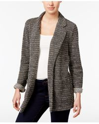 Style & Co. | Black Jacquard Open-front Blazer | Lyst