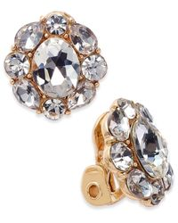 Charter Club | Metallic Gold-tone Crystal Flower Clip-on Stud Earrings | Lyst