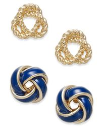 Charter Club | Metallic 2-pc. Set Knotted Stud Earrings | Lyst