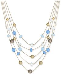 INC International Concepts | Blue Gold-tone Multi-stone 5-row Necklace | Lyst
