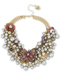 """Betsey Johnson - Metallic Gold-tone Stone Butterfly & Shaky Imitation Pearl Statement Necklace, 16"""" + 3"""" Extender - Lyst"""