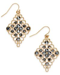 INC International Concepts | Metallic Gold-tone Black Crystal Diamond-shape Drop Earrings | Lyst