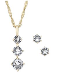 Charter Club | Metallic Gold-tone Triple Crystal Pendant Necklace & Matching Stud Earrings Set | Lyst