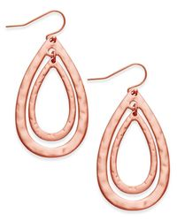 INC International Concepts - Pink Double Oval Drop Earrings - Lyst