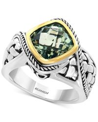 Effy Collection | Metallic Green Amethyst Ring (3-1/10 Ct. T.w.) In Sterling Silver And 18k Gold | Lyst