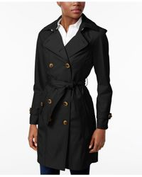 Jones New York   Black Double-breasted Belted Raincoat   Lyst