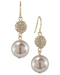 Carolee | Metallic Gold-tone Imitation Pearl And Crystal Double Drop Earrings | Lyst