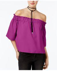 RACHEL Rachel Roy | Purple Shirred Off-the-shoulder Top | Lyst