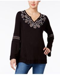 Style & Co. | Black Embroidered Bell-sleeve Top | Lyst
