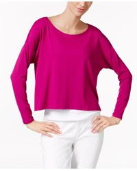 Eileen Fisher | Pink Scoop-neck Boxy Top | Lyst