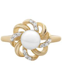 Macy's Metallic Cultured Freshwater Pearl (6mm) & Diamond (1/10 Ct. T.w.) Flower Statement Ring In 14k Gold