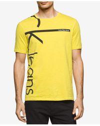 Calvin Klein Jeans | Yellow Vertical Logo Tee for Men | Lyst