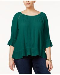 INC International Concepts | Green Plus Size Peasant Top | Lyst
