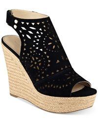 Marc Fisher | Black Harlea Platform Wedge Sandals | Lyst