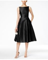 Adrianna Papell - Black Boat-neck A-line Dress - Lyst