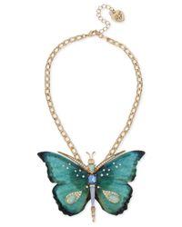 Betsey Johnson | Metallic Gold-tone Multi-stone Butterfly Pendant Necklace | Lyst