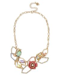 Betsey Johnson | Metallic Gold-tone Multi-stone Geometric Floral Statement Necklace | Lyst