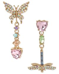 Betsey Johnson | Metallic Buzz Off Pave Butterfly And Dragonfly Mismatch Drop Earrings | Lyst